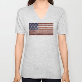 USA flag, High Quality retro style Unisex V-Neck
