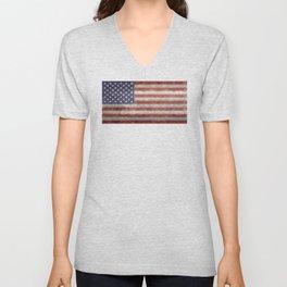 USA flag, retro style Unisex V-Neck