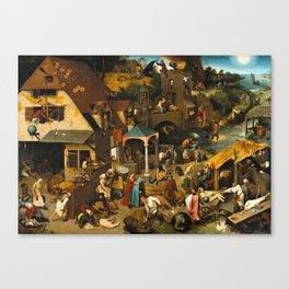 Pieter Bruegel the Elder Netherlandish Proverbs Painting Canvas Print