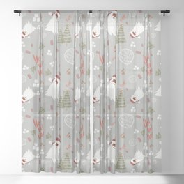 Hey Santa! Sheer Curtain