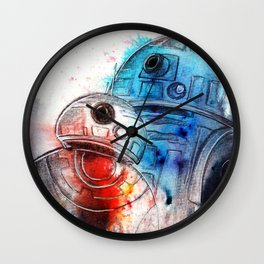 Droid love. BB-8 and R2D2 portrait.  Wall Clock