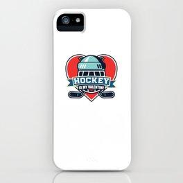 Hockey lover Valentines day gifts: Hockey Is My Valentine iPhone Case