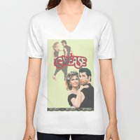grease V-neck T-shirts featuring Grease  by Dora Birgis