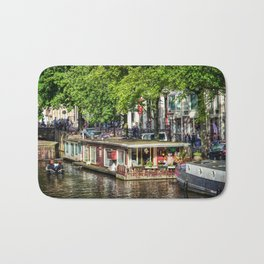 Amsterdam Houseboat on Canal Bath Mat