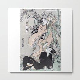Fūryū yastushi hagoromo Japanese Ukiyo-e cherry blossom Metal Print