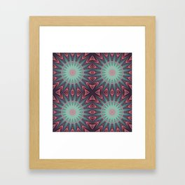 Mauve & teal starburst Mandala Framed Art Print