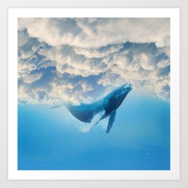 Swimming by the sky Art Print