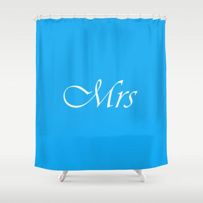 Mrs Monogram Sky Blue Shower Curtain