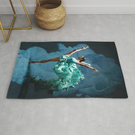 -O1- Blue Ballet Dancer Deep Feelings. Rug