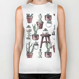 Happy Potted Cacti in Rose Gold Pots Biker Tank