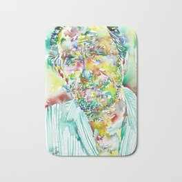 CHARLES BUKOWSKI - watercolor portrait.2 Bath Mat