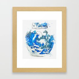 A BLUE AND WHITE OVOID JAR AND COVER QING DYNASTY, KANGXI PERIOD watercolor by Ahmet Asar Framed Art Print