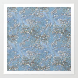 3d, wallpaper, background in Van Gogh style, Almond Blossoms, seamless Art Print