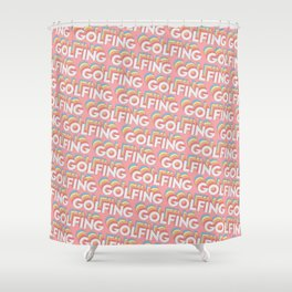 Golfing Trendy Rainbow Text Pattern (Pink) Shower Curtain