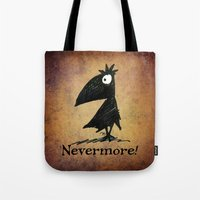 edgar allen poe Tote Bags featuring Nevermore! The Raven - Edgar Allen Poe by Paul Stickland for StrangeStore