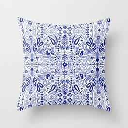 Chinoiserie Folk Seamless Pattern Throw Pillow