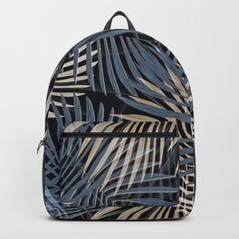 Dramatic Blue and Khaki Palm Print Backpack