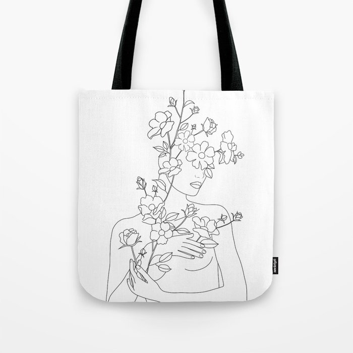 Minimal Line Art Woman with Wild Roses Tote Bag