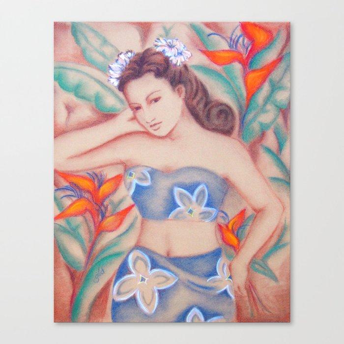 1940's Vintage Hawaiian Beauty Canvas Print