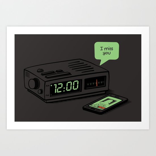 "Midnight Alarm ""I Miss You"" Art Print"