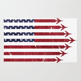 USA Flag Military Jets Rug