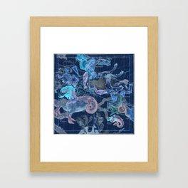 Star Atlas Vintage Constellation Map Blue Ignace Gaston Pardies Framed Art Print