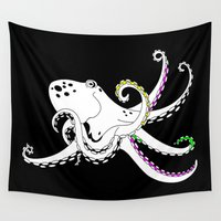 octopus Wall Tapestries featuring Octopus by mailboxdisco