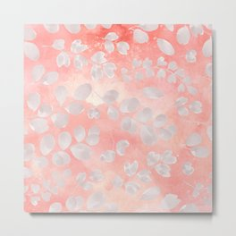 Abstract coral gray white watercolor foliage pattern Metal Print