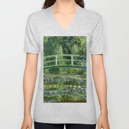 Water Lilies and the Japanese bridge - Claude Monet Unisex V-Neck
