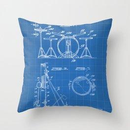 Drum Set Patent - Drummer Art - Blueprint Throw Pillow