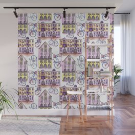 Bicycles in the town - pattern Wall Mural