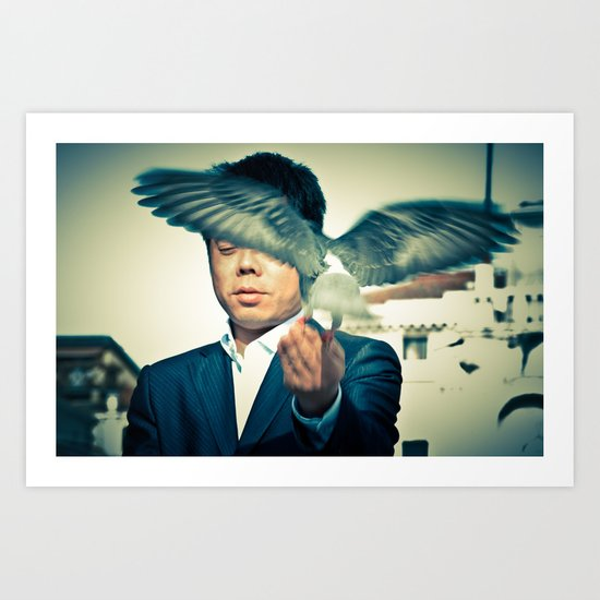 fly dove Art Print
