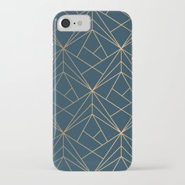 Benjamin Moore Hidden Sapphire Gold Geometric Pattern With White Shimmer iPhone Case