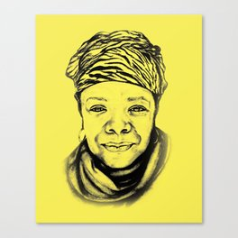 Maya Angelou - (yellow) Sketch to Digital Canvas Print