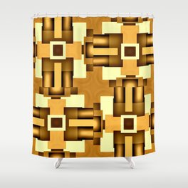 Gold Beige Pipe System,Streampunk Shower Curtain