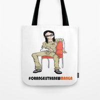 alex vause Tote Bags featuring Alex Vause #OrangeisthenewManga by SharonaBarnes