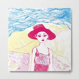 Woman on the beach 4 Metal Print
