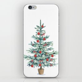Christmas tree with red balls iPhone Skin