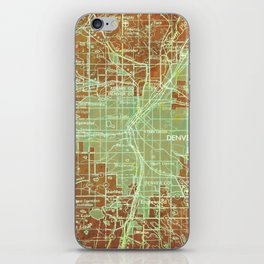 Denver Colorado map, year 1958, orange and green artwork iPhone Skin