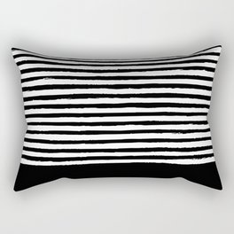 geometric art pattern with medium lines, black and white background Rectangular Pillow