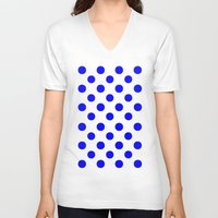 polkadot V-neck T-shirts featuring Polka Dots (Blue/White) by 10813 Apparel