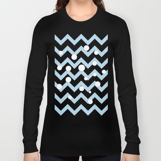 Light blue white Chevron pattern with Snow Circles Long Sleeve T-shirt
