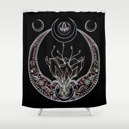 Moon Flower at Midnight in Black and Color Shower Curtain