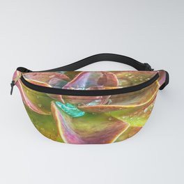 closeup green and pink succulent plant with water drop Fanny Pack