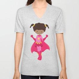 African American Girl, Superhero Girl, Pink Costume Unisex V-Neck
