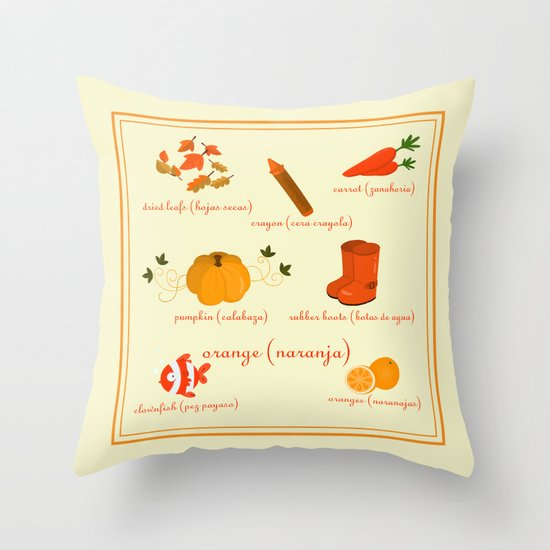 Colors: orange (Los colores: naranja) Throw Pillow