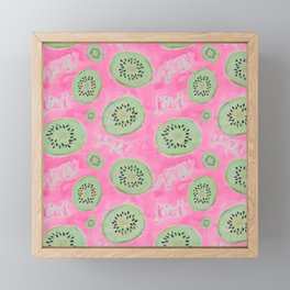 Watercolor Kiwi Slices in Neon Pink Punch Framed Mini Art Print