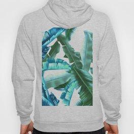 tropical banana leaves pattern turquoise Hoody