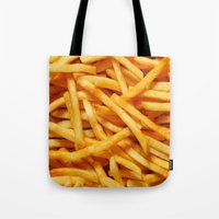 french fries Tote Bags featuring French Fries by I Love Decor