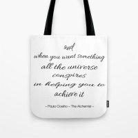 fullmetal alchemist Tote Bags featuring The Alchemist by Pink Milkshake Designs